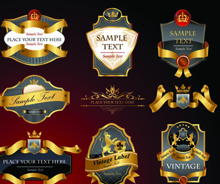 luxurious black and gold labels vector