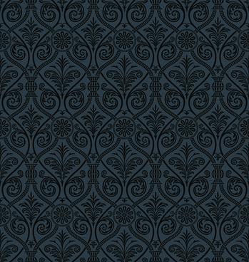 luxurious black damask patterns vector