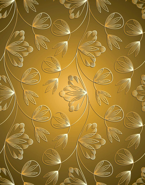 Luxurious Golden Vintage Patterns Background Floral Pattern Vector Set