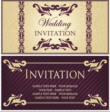 luxurious floral wedding invitations vector design