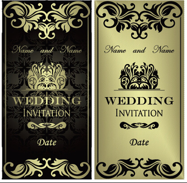 luxurious floral wedding invitations vector design