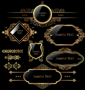 luxurious golden frames and labels design vector