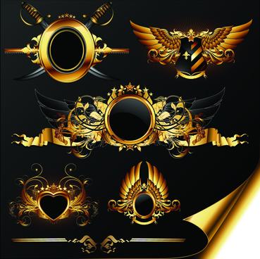 luxurious golden heraldic with ornaments vector