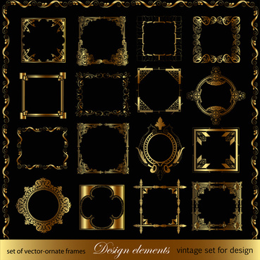 luxurious golden ornaments elements