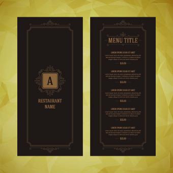 luxurious restaurant menu vector set