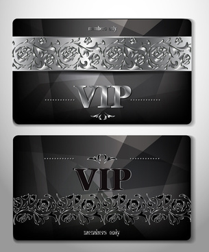 luxurious vip cards flower vector