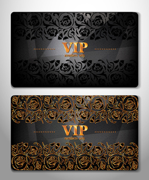 luxurious vip cards flower vector