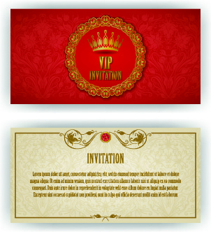 luxurious vip invitation cards vector