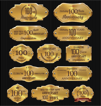 luxury anniversary golden laurel labels vector
