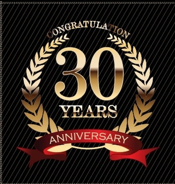 luxury anniversary labels golden style vector