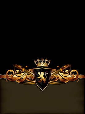 luxury arms with badge labels background vector