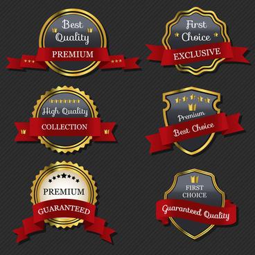 luxury badge with ribbon set