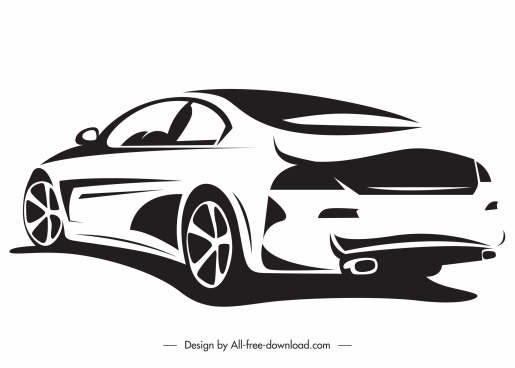 luxury car mode icon black white silhouette sketch