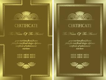 luxury certificate template card vector
