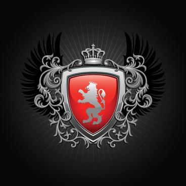 luxury coat of arms design elements vector graphics