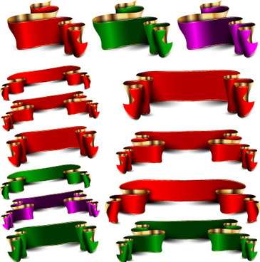 luxury colored ribbons vector