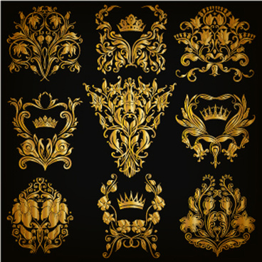 luxury floral ornaments golden vectors