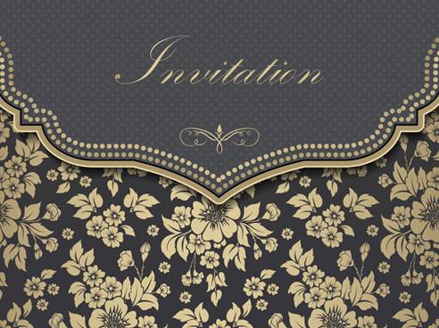 luxury flower invitation cards retro vector