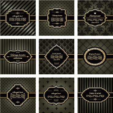 luxury frames with retro background art vector