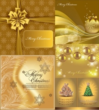 luxury gold christmas background vector set
