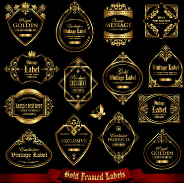 luxury gold frame labels set vector