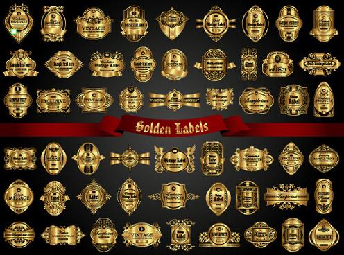 luxury gold frame labels set vector