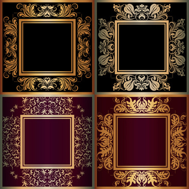 luxury gold frame with ornaments floral vector