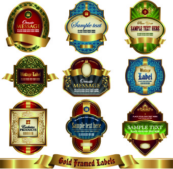 luxury gold labels vector graphics set
