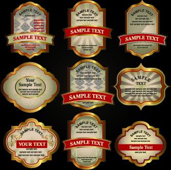 luxury gold labels vector graphics set