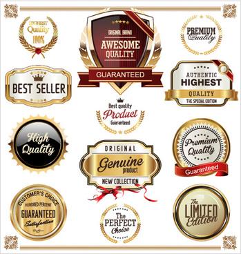 luxury gold premium quality labels vector