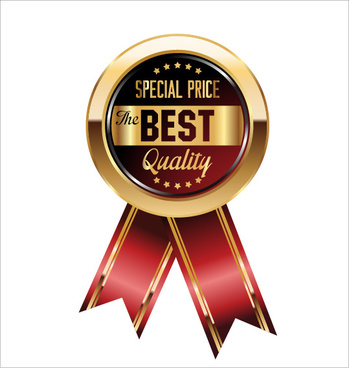 luxury golden badge with red ribbon vector