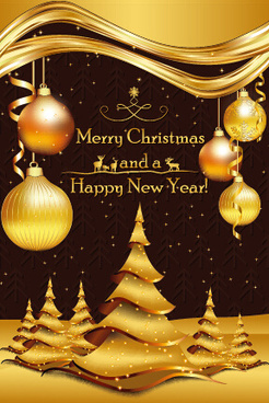 luxury golden christmas background with baubles vector