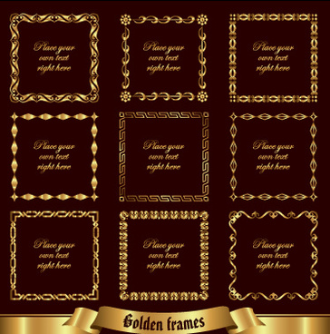 luxury golden frames vector