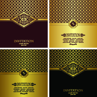 Birthday invitation card background free vector download 54221 luxury golden invitation cards background stopboris Image collections