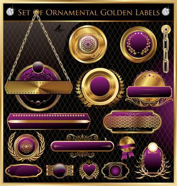 luxury golden labels with heraldry vector set