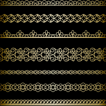 luxury golden lace borders vector set