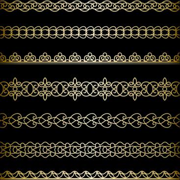 luxury golden lace borders vector set