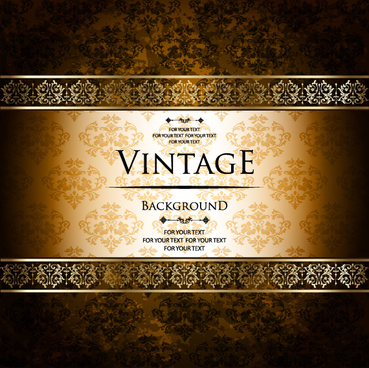 luxury golden vintage vector background set