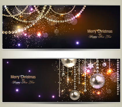 luxury jewelry christmas banners vector set