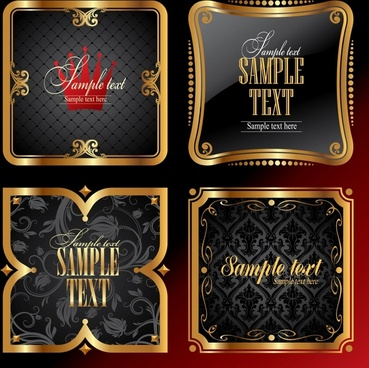 luxury label templates shiny golden border elegant decor