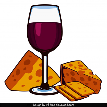 luxury meal icon wineglass cheese sketch classic handdrawn