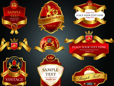 luxury of black and gold labels vector
