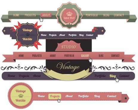 luxury of vintage website navigation vector