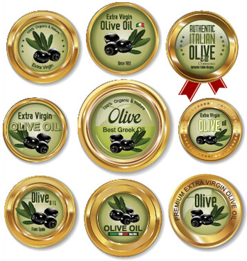 luxury olive oil gold labels vector