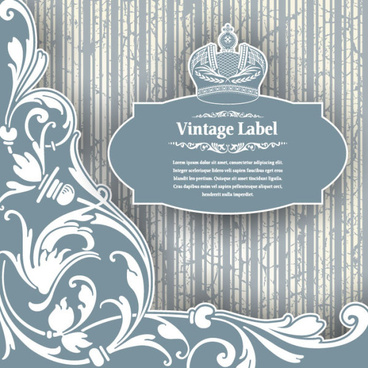 luxury vintage label and ornaments vector