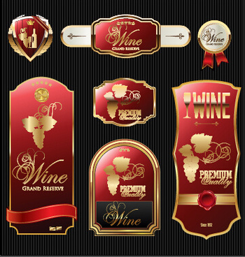 luxury wine labels with sticker vector graphics