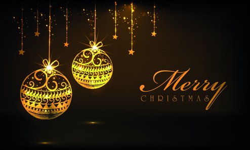 luxyry golden15 christmas baubles vector background