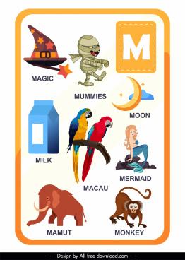 m alphabet education template colorful emblems sketch