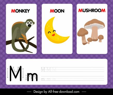 m alphabet education template monkey moon mushroom outline
