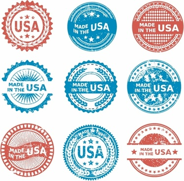 Made in the USA patriotic Grunge icon set